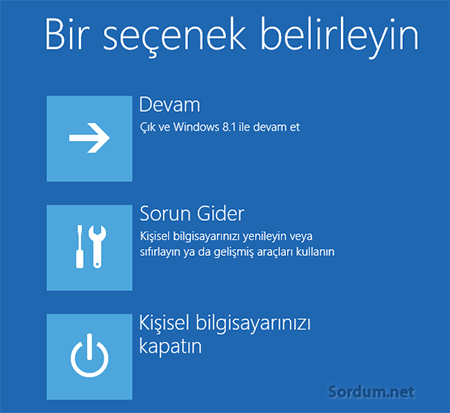 Windows 8.1 kurtarma secenekleri