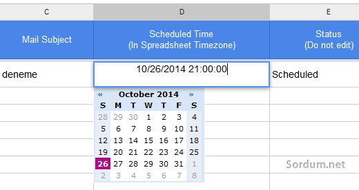 scheduled time