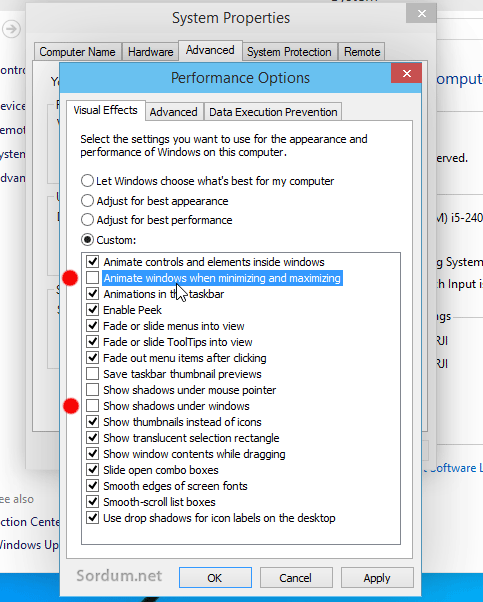 Windows 10 da animasyonları kaldıralım