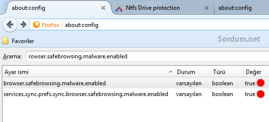 Firefox ta safe browsing i disable etme