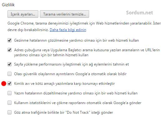 Chrome kimlik avı tikini kaldır