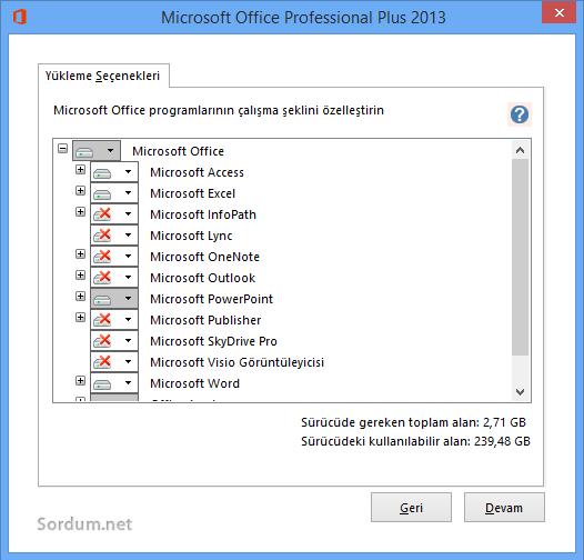 Office yükleme seçenekleri