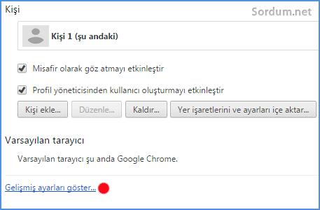 Chrome Gelişmiş ayarlar