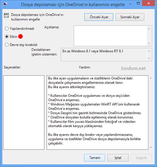 OneDrive ı gpadit yolu ile devre dışı bırakmak