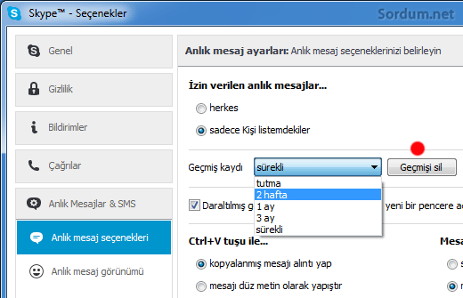 skype gecmişi sil butonu