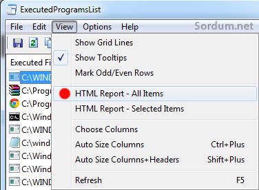 son çalıştırılan program listesi raporu