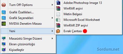 Windows 8-8.1 de sağ tuşa evrak çantası
