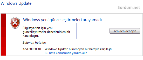 windows update hatasi 800B0001