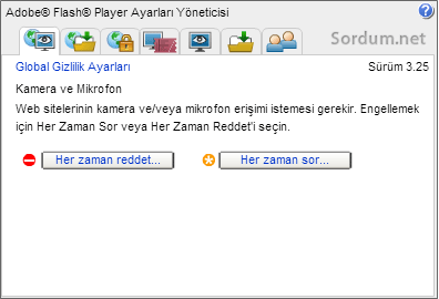 flash player sitesindeki ayarlar