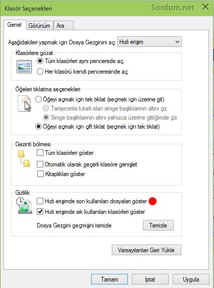 Hızlı erişimde son kullanılan dosyaları göster