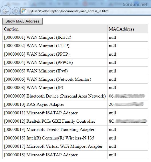 MAC adres listesi