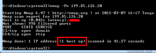 nmap host is up