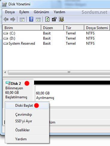 VHD diski başlat