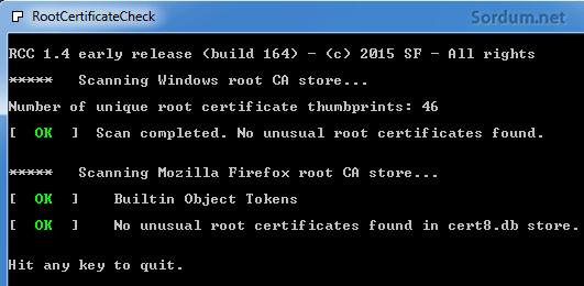 RCC ile kök sertifikası taraması