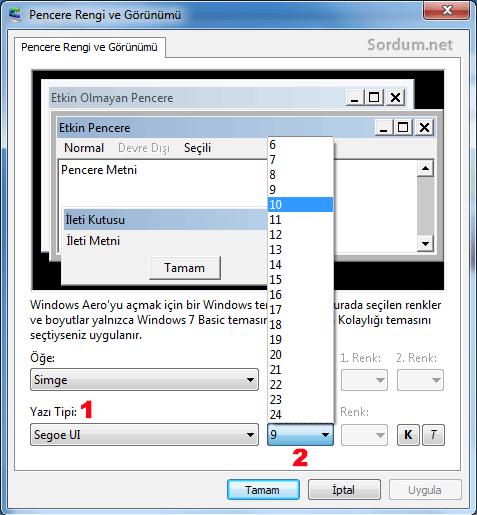 Windows başlat yazı tipi ve boyutu