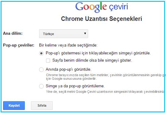 Chrome çeviri seçenekleri