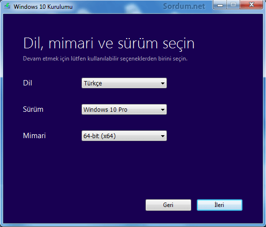 Windows 10 kurulum medyası dil ve sürüm seçimi
