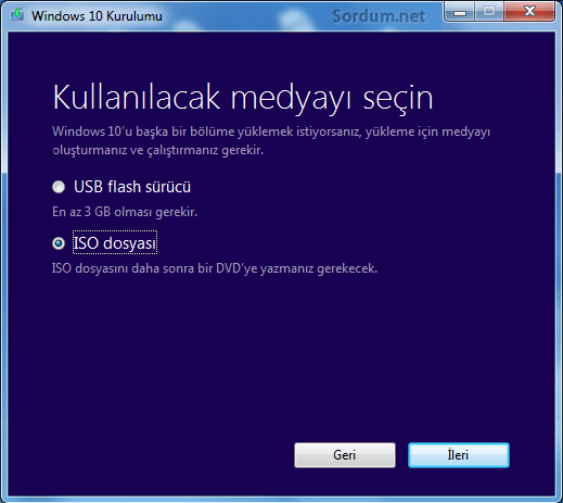 Windows 10 u ISO şekilnde indirelim
