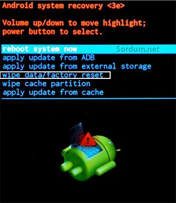 samsung tab4 factory reset ekranı