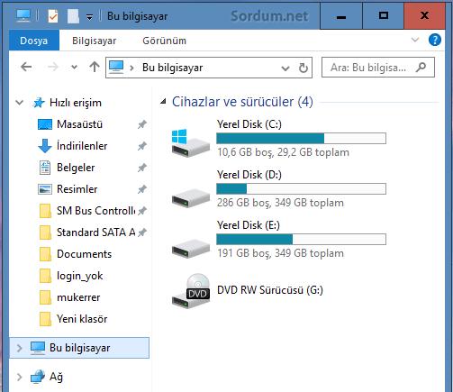 Windows 10 daki gereksiz klasörler silindi