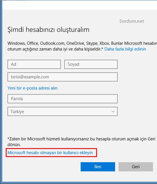 Microsoft hesabı olmayan bir kullanıcı