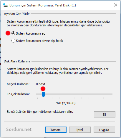 Windows 10 sistem korumasını yapılandır