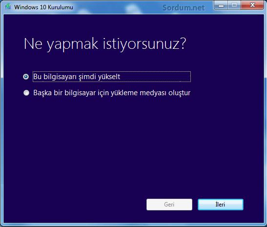 Windows kurulum aracı ile 10 a yükseltme