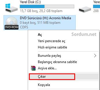 imaj dosyasını windows 10 da çıkartmak