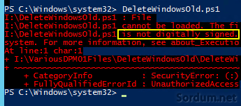 powershell not digitally signed hatası