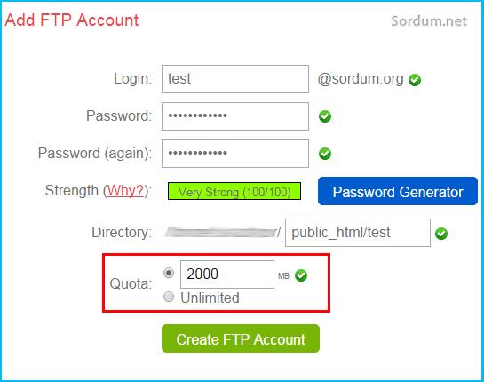 Cpanelden FTP hesabı oluşturma