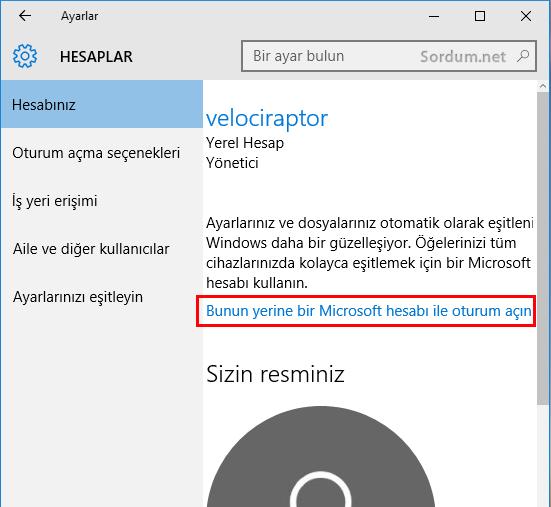 Windows 10 da Microsoft hesabı ile oturum açın