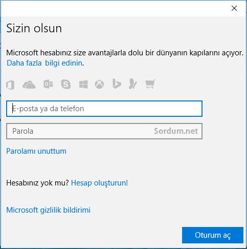 Windows 10 da microsoft hesabı girişi