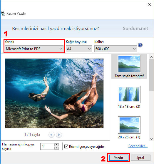windows 10 da resmi pdf ye çevirme ikinci aşama
