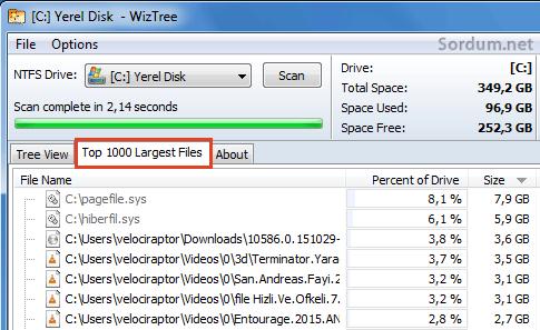 hdd doluluk oranında en büyük 1000 dosya