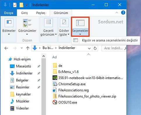 Windows 10 dosya seçenekleri