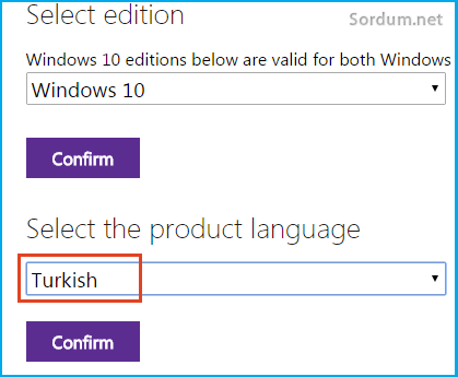Windows10 dilini seçelim