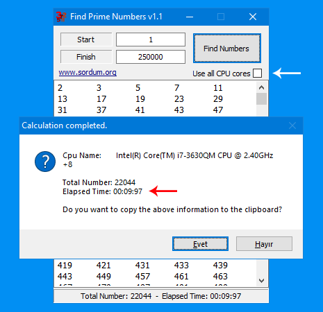 Find prime numbers with power of all cpu