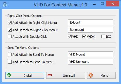 VHD seçeneğini sağ tuşa eklemek