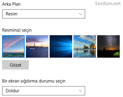 Windows 10 arka plan