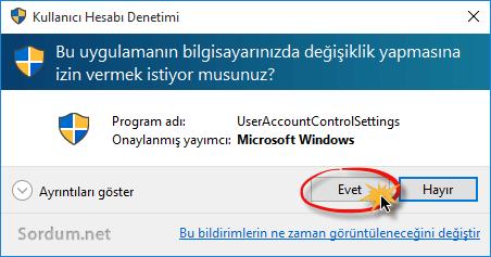 kullanici hesabi denetimi ekranı