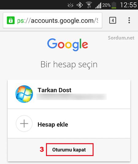 Gmail mobil görünümde oturumu kapatalım
