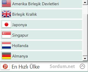 psiphon3 ülke seçenekleri