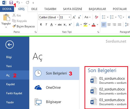 Microsoft word son açılan belgeler