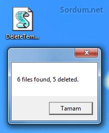 silinen geçici dosya sayısı