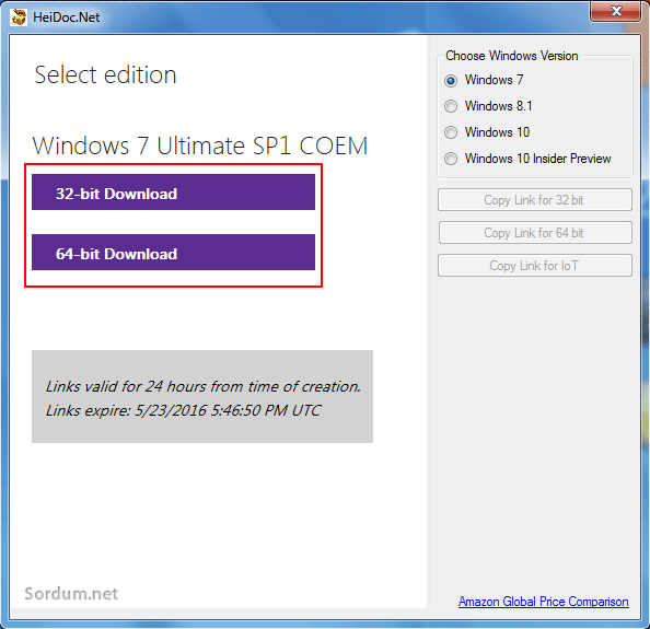 windows iso downloader mimari seçim ekranı