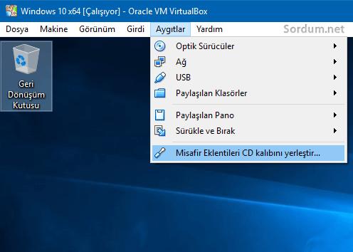 vm virtualbox misafir eklentileri