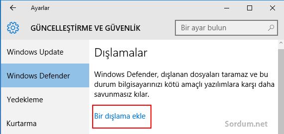Windows defender dışlama ekleme