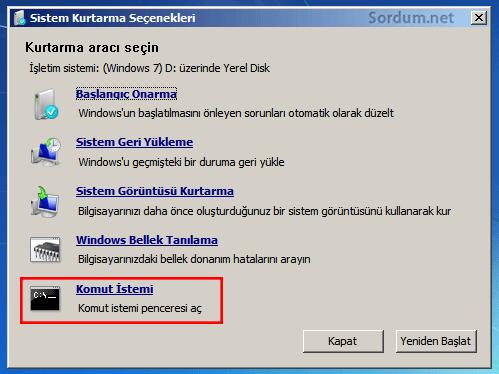 Windows 7 de başlangıç onarmak