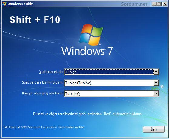windows kurulum ekrani