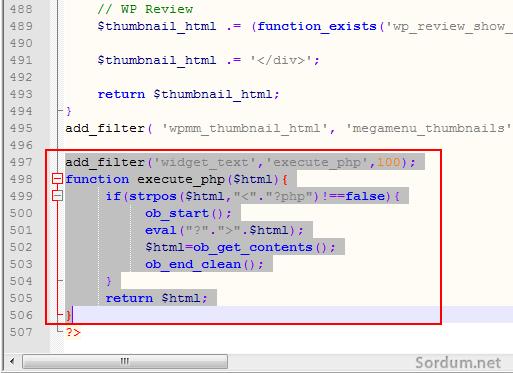 wordpress witget üzerinden  php çalıştırmak